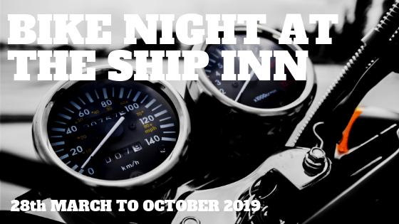 Bike night at The Ship Inn, Wool. everyone welcome. 10% off food orders to all bikers on the night. Join us!